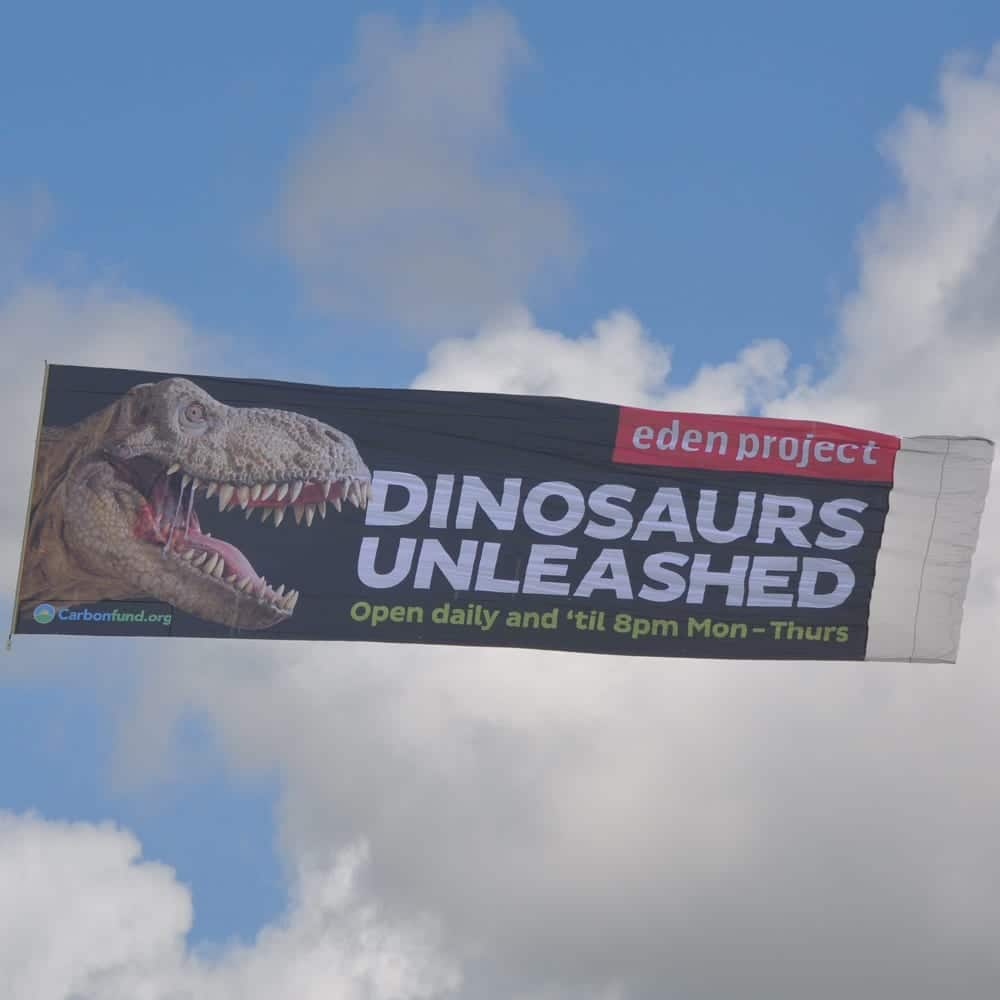 Dinosaurs unleashed aerial banner advertising