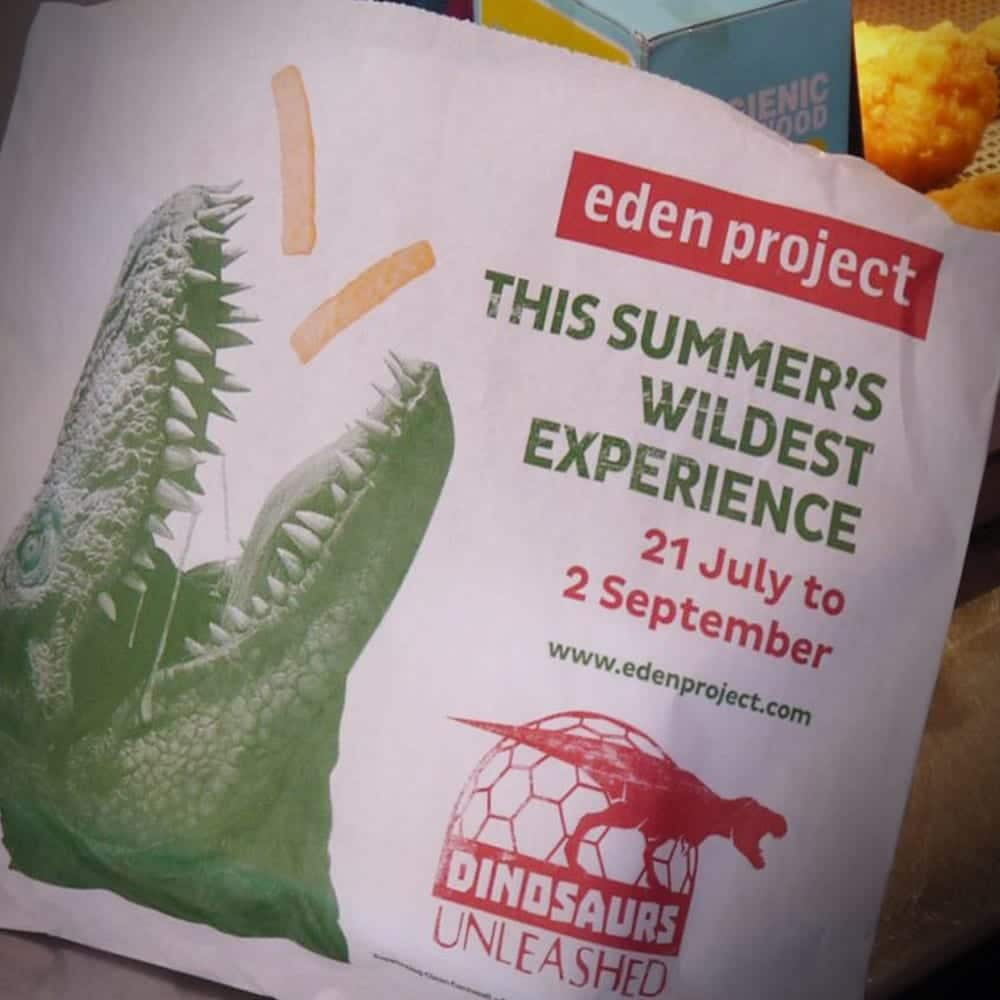Close up of Eden Project advertising on chip bag