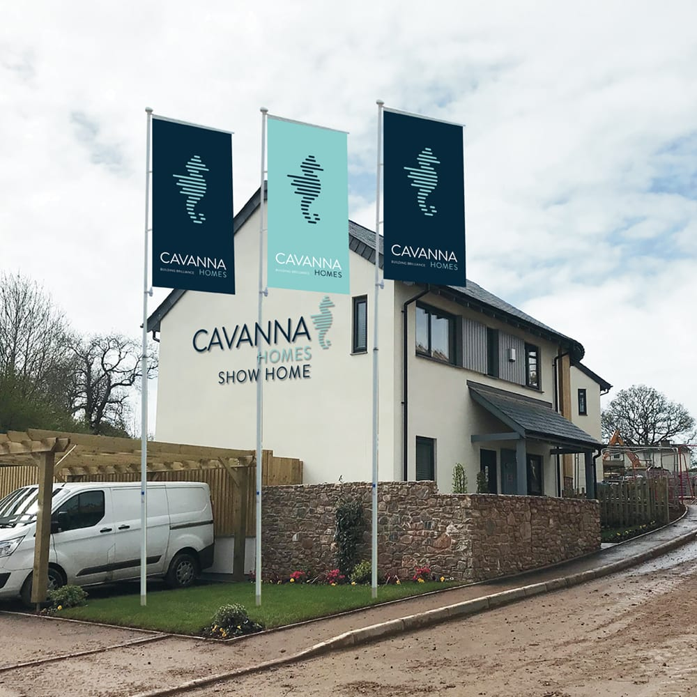 Cavanna Homes flags and show home with redesigned logo and branding