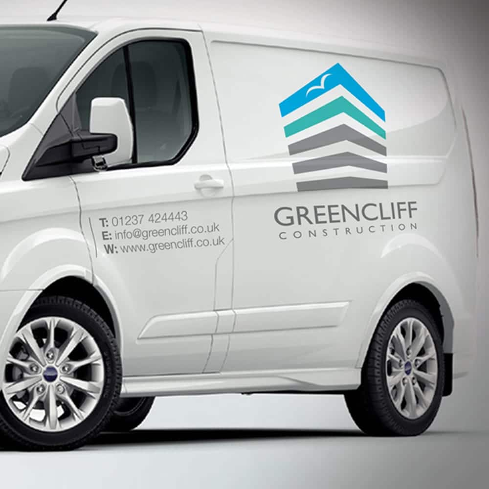 Greencliff Construction branding on the side of a van