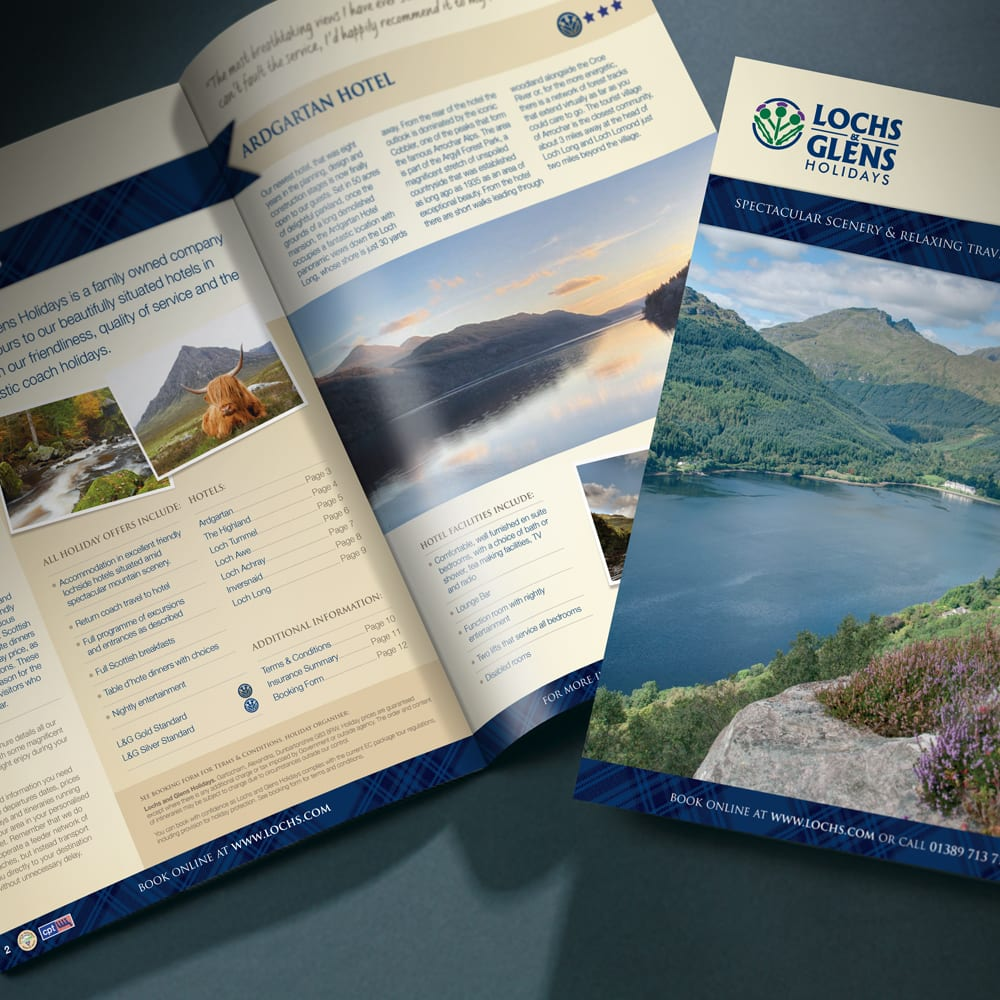 Close up of Lochs and Glens brochures