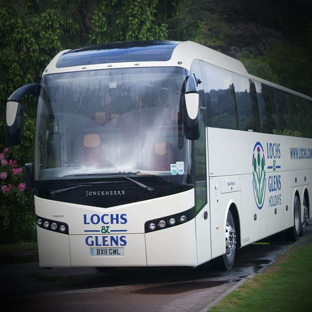 Close up of Lochs and Glens coach