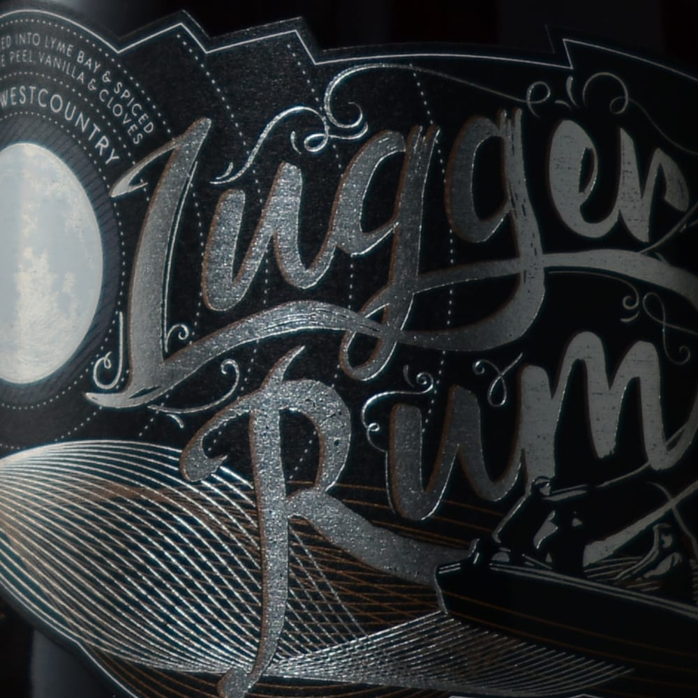 Close up of Lugger Rum packaging design